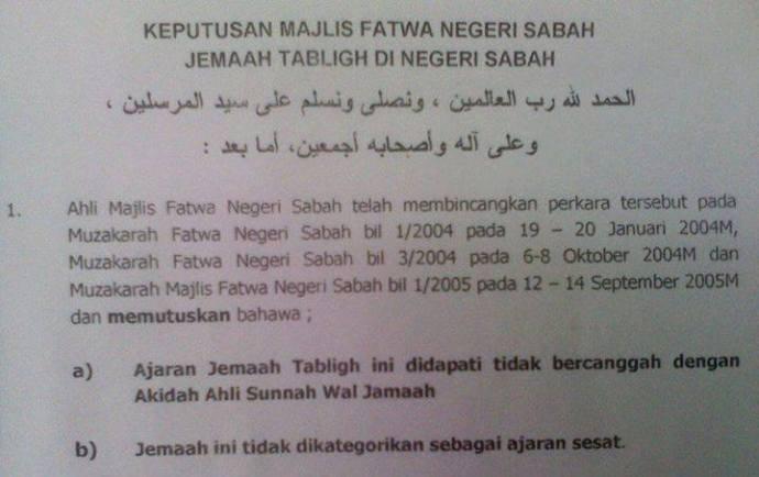 Fatwa Mufti Sabah, Malaysia